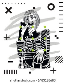 Picasso portrait. Vector illustration. Modern geometric style with dots.