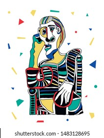 Picasso portrait. Vector illustration. Mosaic RGB style