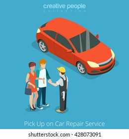 Pick up Car from repair vehicle service concept. Serviceman giving key to customer owner. Flat 3d isometry isometric style web site app icon set concept vector illustration. Creative people collection