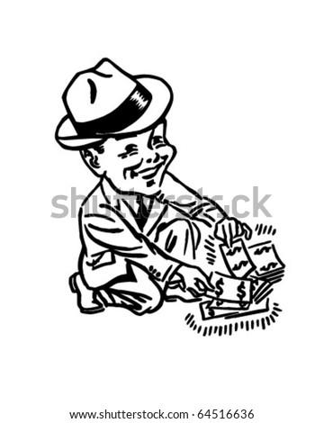 Pick Extra Cash Retro Clipart Illustration Stock Vector Royalty