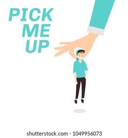 pick me up design illustration