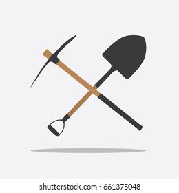 Pick and shovel icon, vector illustration design. Tools collection.