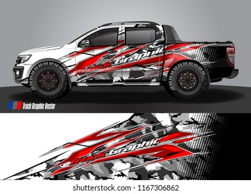pick up truck and car decal design vector. abstract background livery for vehicle vinyl wrap