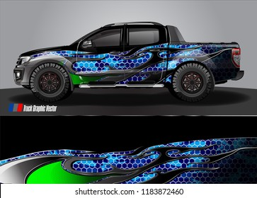 pick up truck and car decal design vector. abstract modern tribal background livery for vehicle vinyl wrap
