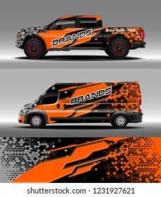 Pick up truck and cargo van car wrap design vector. Graphic abstract stripe racing background kit designs for wrap vehicle, race car, branding car.