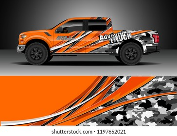 Pick up truck decal design vector. Graphic abstract stripe racing background kit designs for wrap vehicle, race car, adventure and livery
