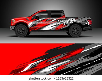 Pick up truck  decal wrap design vector. Graphic modern abstract stripe racing background kit designs for wrap vehicle, race car, rally, adventure and livery