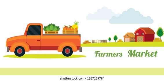 Pick up Truck with Farm Product, Farmers Market, Agriculture, Farm Background