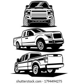 pick up truck logo design vector