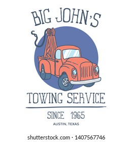 Pick up Truck Towing Service hand drawn illustration. Vector illustration