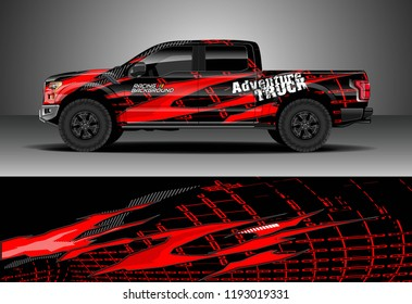 Pick up truck wrap design vector. Graphic abstract stripe racing background kit designs for wrap vehicle, race car, nascar car, rally, adventure and livery