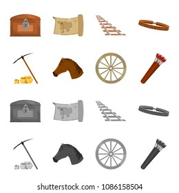 Pickax hoe, horse head, wheel cart, quiver with arrows.Wild west set collection icons in cartoon,monochrome style vector symbol stock illustration web.