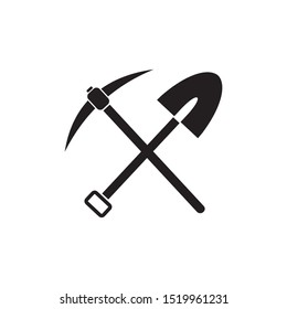 pickax and shovel vector icon illustration sign