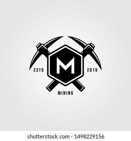 pickaxe crosses over letter m hexagon vintage logo design illustration