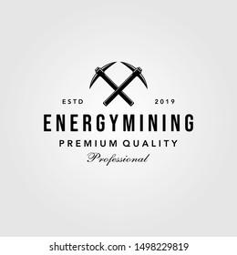 pickaxe energy mining luxury vintage logo design illustration