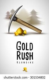 pickaxe and gold Klondike Gold Rush