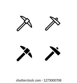 Pickaxe Icon Logo Vector Symbol. Mining Icon