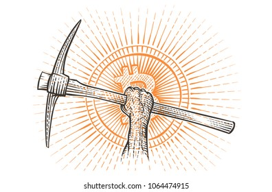 Pickaxe in raised hand symbolizing mining cryptocurrency illustration. Vector.