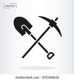 pickaxe shovel icon vector