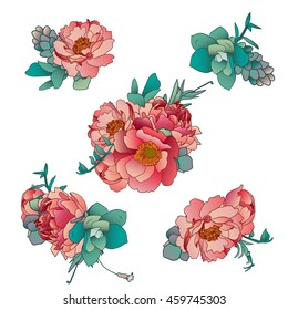 picked  bouquets of peonies and succulents for design of greeting cards, invitations, blogs and websites, logos, brands