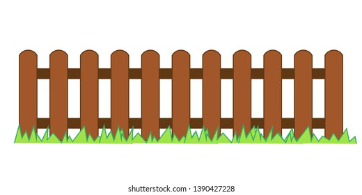 Picket fence, wooden textured with grass, rounded edges - seamless extendable to endless pattern. Wood boards silhouette construction in flat style