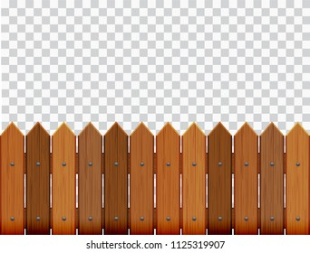 Picket fence, wooden textured, rounded edges - seamless extendable to endless pattern - isolated vector illustration on transparent background.