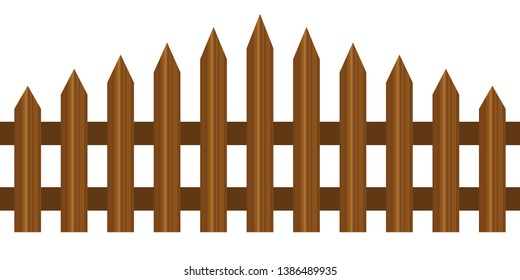 Picket fence, wooden textured, rounded edges - seamless extendable to endless pattern. Wood boards silhouette construction in realictic style