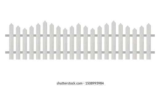 Picket fence, wooden textured, rounded edges. Vector illustration.