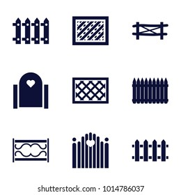 Picket icons. set of 9 editable filled picket icons such as fence