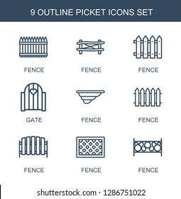picket icons. Trendy 9 picket icons. Contain icons such as fence, gate. picket icon for web and mobile.