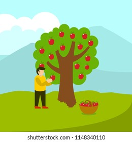 Picking Apple Illustration Vector