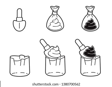 Picking dog poop in plastic bag with paddle. Turd packaging stock vector illustration.