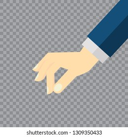 Picking hand. Gesture with a man's hand in a suit close-up. Take an object, subject, element. Lift up. Vector illustration flat design. Pick up something.