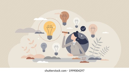 Picking ideas and best option selection as creative work tiny person concept. Choice after innovative brainstorming and solution finding in symbolic lightbulb group vector illustration. Final decision