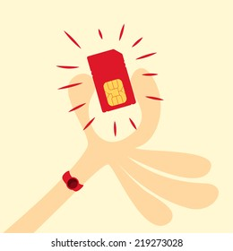 picking the sim card, Vector graphic