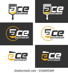 Pickle ball racket logo illustration