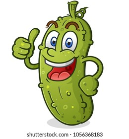 Pickle Cartoon Character Giving a Thumbs Up