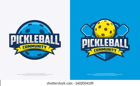 Pickleball community logo badge with white and blue background