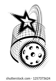 Pickleball with star vector illustration isolated on white background. A powerful blow through the net