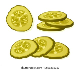 Pickled cucumber slice isolated on white background. Marinated pickled cucumber isolated. Vector Illustration.