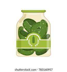 Pickled cucumbers in glass jar with brand label. Organic product. Canned food. Isolated flat vector design for product advertising in shop or supermarket