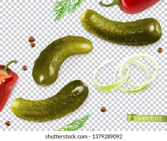 Pickled cucumbers vectorized image. Gherkin, dill, pepper, onion, coriander seeds. 3d vector realistic vegetables