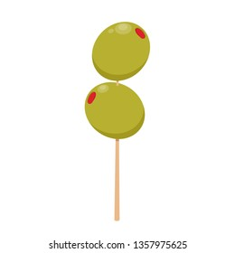 Pickled olives vector. Two stuffed olives on toothpick.