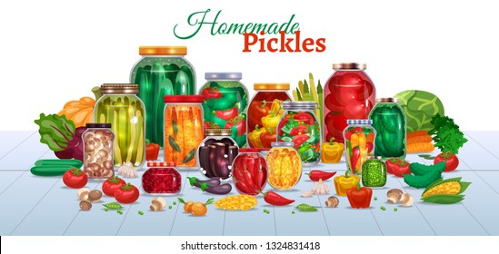 Pickles horizontal composition with lots of glass jars with vegetables text and pieces of ripe fruits vector illustration
