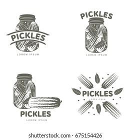 Pickles logo set for your design. Home canning, glass jar, pickle, cucumber, marinade, black peppercorn, bay leaf, brine. Pickles badges, labels. Vector illustration isolated on white background