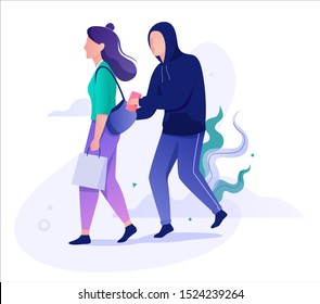 Pickpocket steal wallet from the purse. Robber stealing, criminal character. Bad guy. Isolated vector illustration in cartoon style