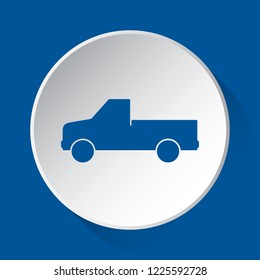 pickup with a flatbed - simple blue icon on white button with shadow in front of blue square background