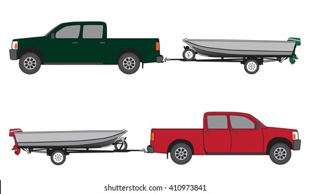 Pickup towing aluminum boat with outboard motor on trailer in two different color schemes