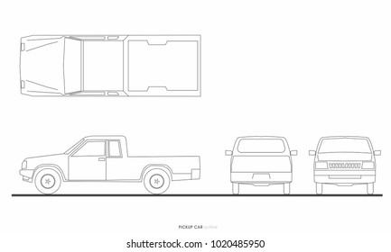 pickup truck car drawing graphic outline