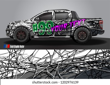Pickup truck decal designs, Cargo van and car wrap vector. abstract graphic stripe for advertisement, race car, adventure and vehicle livery